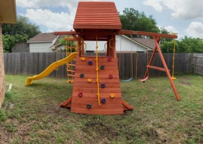 Farm-and-Yard-Central-Texas-Parrot Island Playcenter-treehouse-Wood-Roof-2