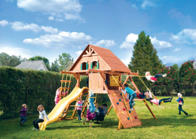 Parrot Island Playcenter with Wood Roof and Treehouse Panels